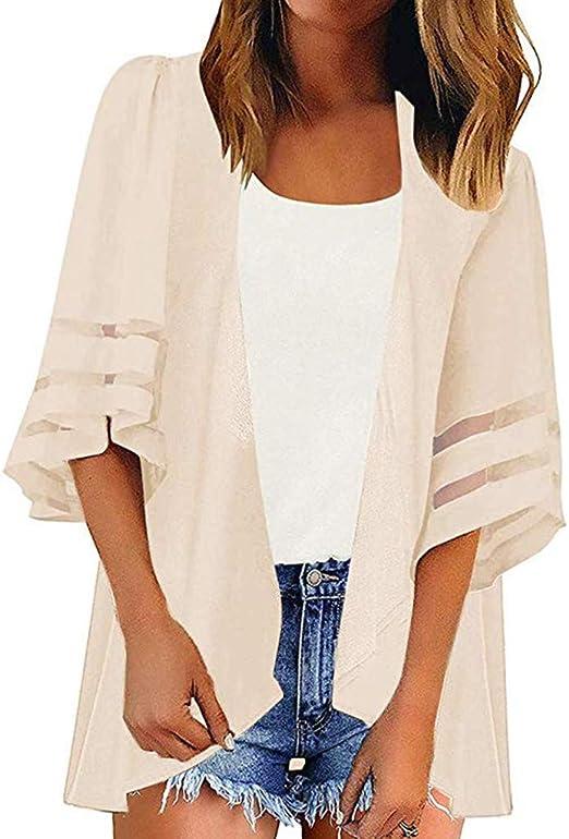 Women/'s Mesh Panel 3//4 Bell Sleeve Floral Chiffon Tops Loose Kimono Cardigan New