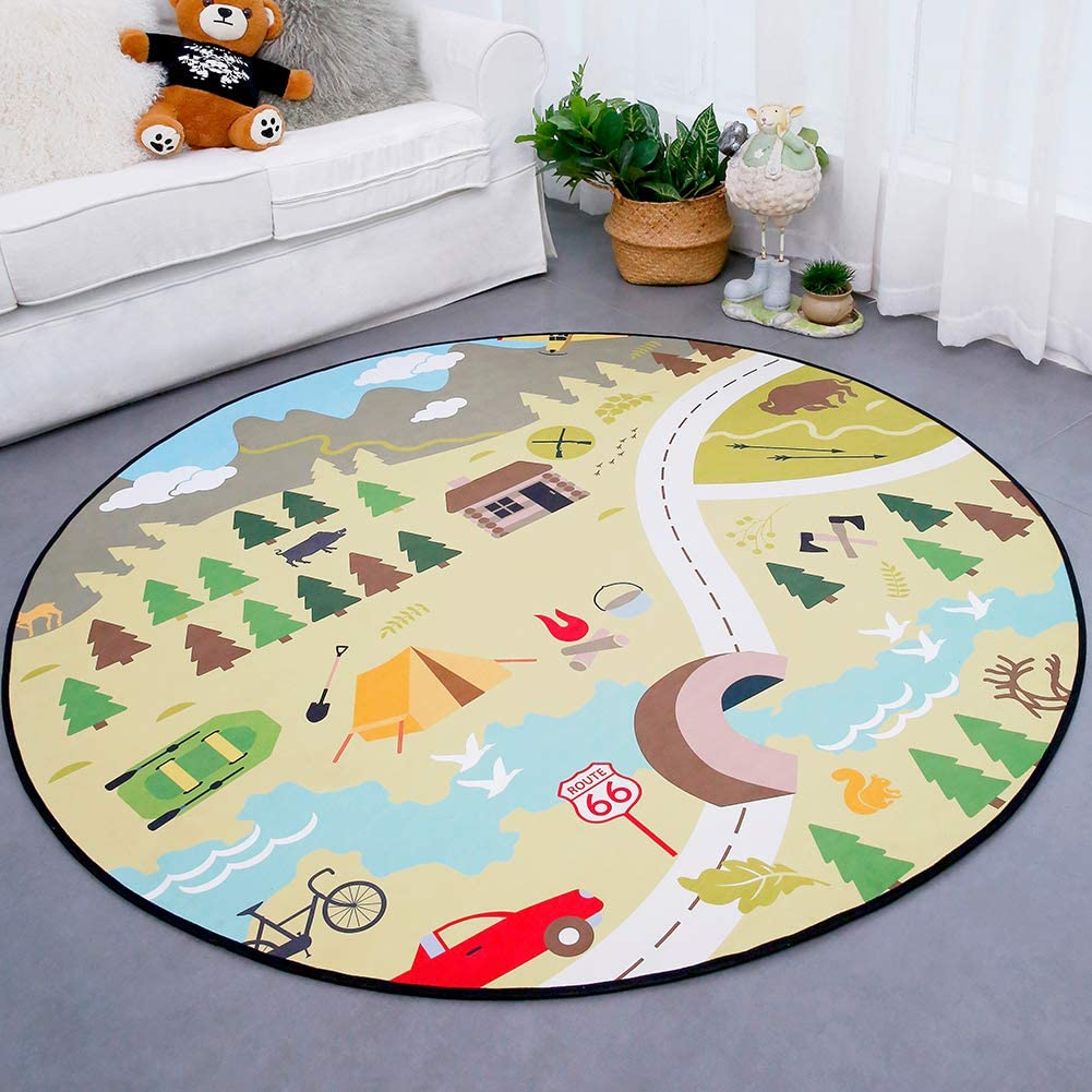 160cm City Track WERUGS Kids Cartoon Round Area Rugs for Boy Girl Playroom Nursery Bedroom Living Room Classroom Baby Crawling Blanket Cars Toys Children Carpet Educational City Road Play Mat