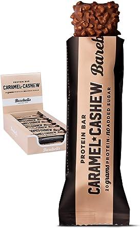 Barritas de Proteínas Barebells Caramel Cashew (Sabor Anacardo y Caramelo) 12 Barritas x 55g, Ricas en Proteínas, Baja en Carbohidratos y Bajas en ...