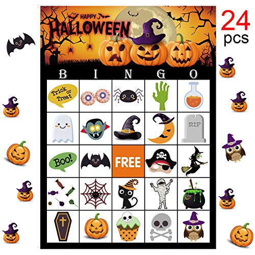 Halloween Party Games Bingo (MISS FANTASY Halloween Bingo Game for Kids Halloween Party Games Classroom Activities for 24 Players)