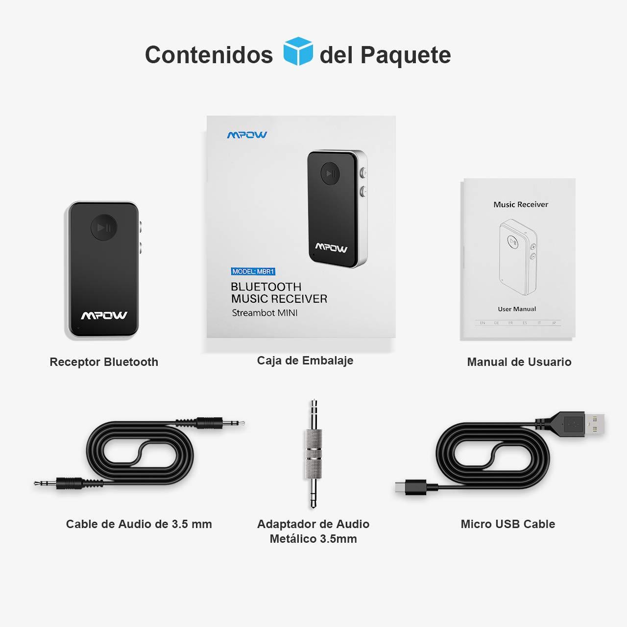 Mpow Receptor Bluetooth Streambot Portable Inal/ámbrico Equipo de Coche para Sistema de Audio de Casa//Coche Adaptador Manos Libres