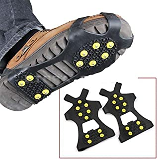 MOOUS Ice Cleats Traction Antiskid Over Shoes/Boots 10 Studs Snow Ice Grips Crampons Studs Spikes, Perfect for Winter Sports, Hiking, Hiking on ice & Snow.