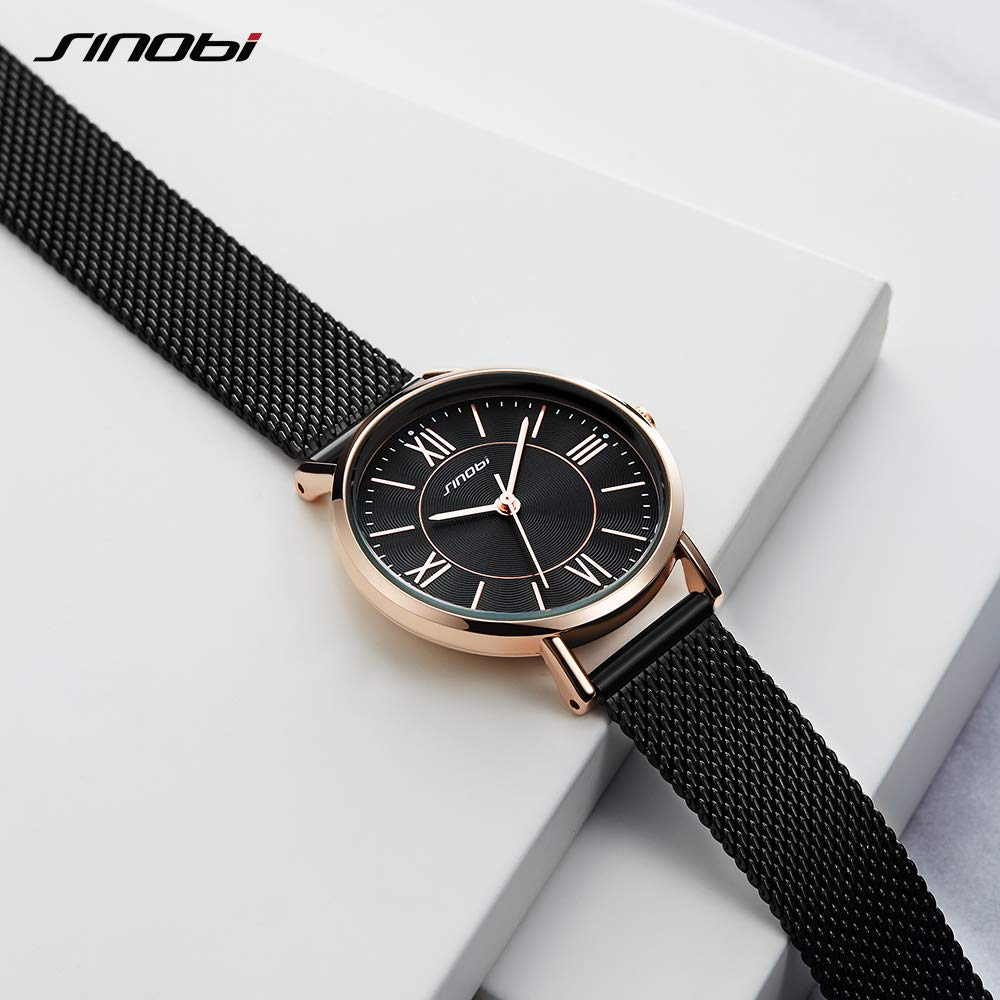 Amazon.com: SINOBI Creative Design Simplicity Women Watch Elegant Diamond Mesh Band Women Watches Ladies Wristwatch (S9799L-Black-Mesh Band): Watches