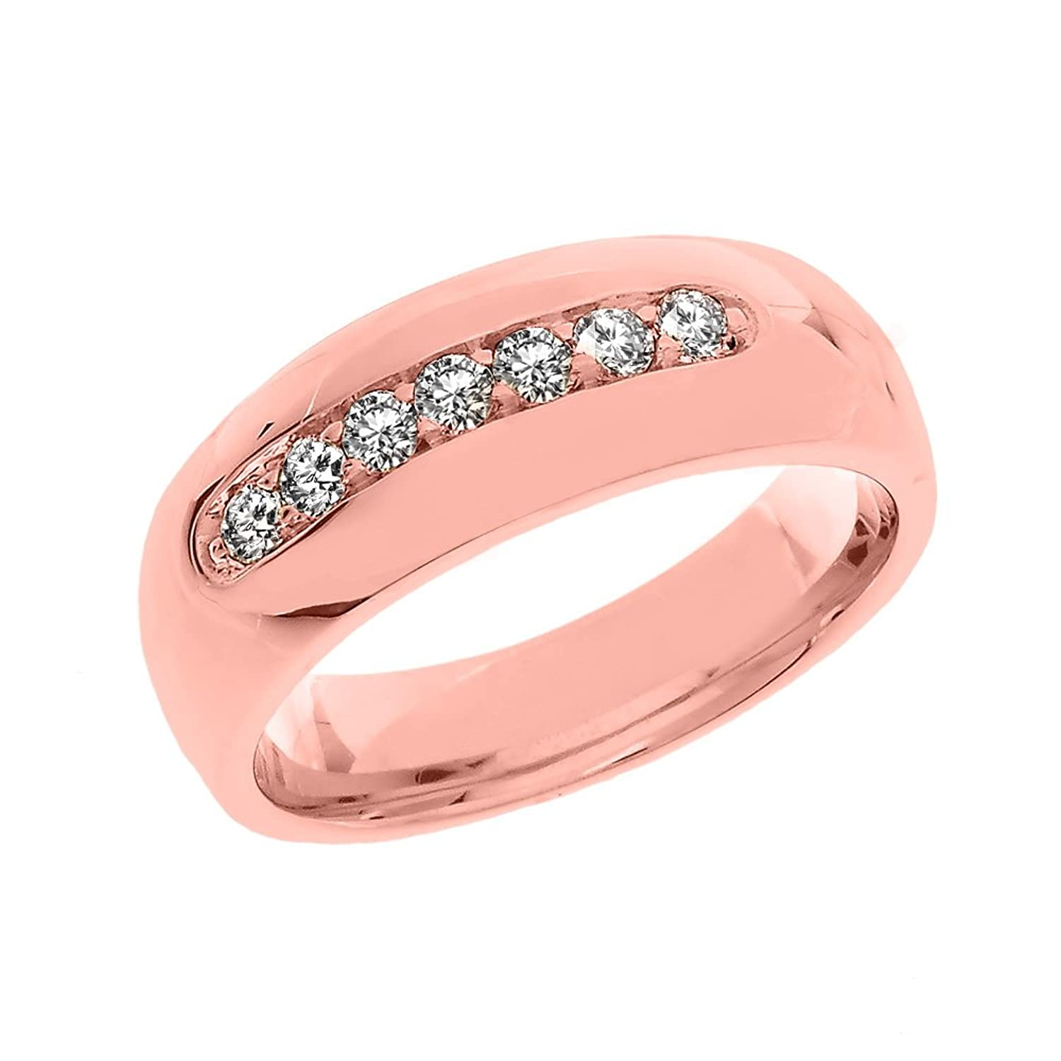 Men\'s 14k Rose Gold Comfort Fit Diamond Modern Wedding Band|Amazon.com