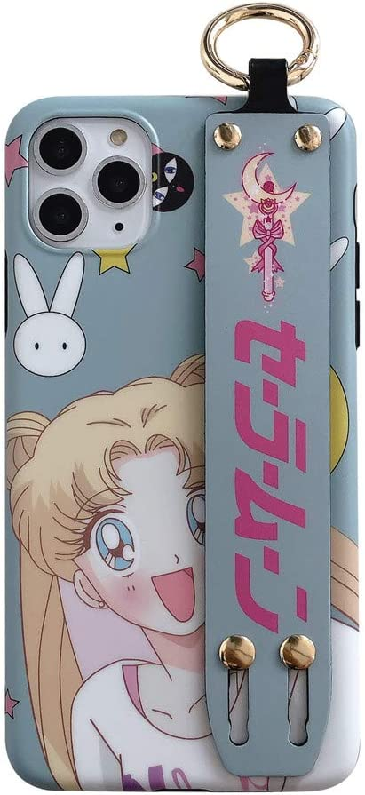 for iPhone 11 Pro Case Cover, Japan Anime Sailor Moon Case with Wrist Stand Holder Silicone Soft Phone Case Back Cover for iPhone Xs Max XR 6S 7 8 Plus (Light Blue, for iPhone 11 Pro)