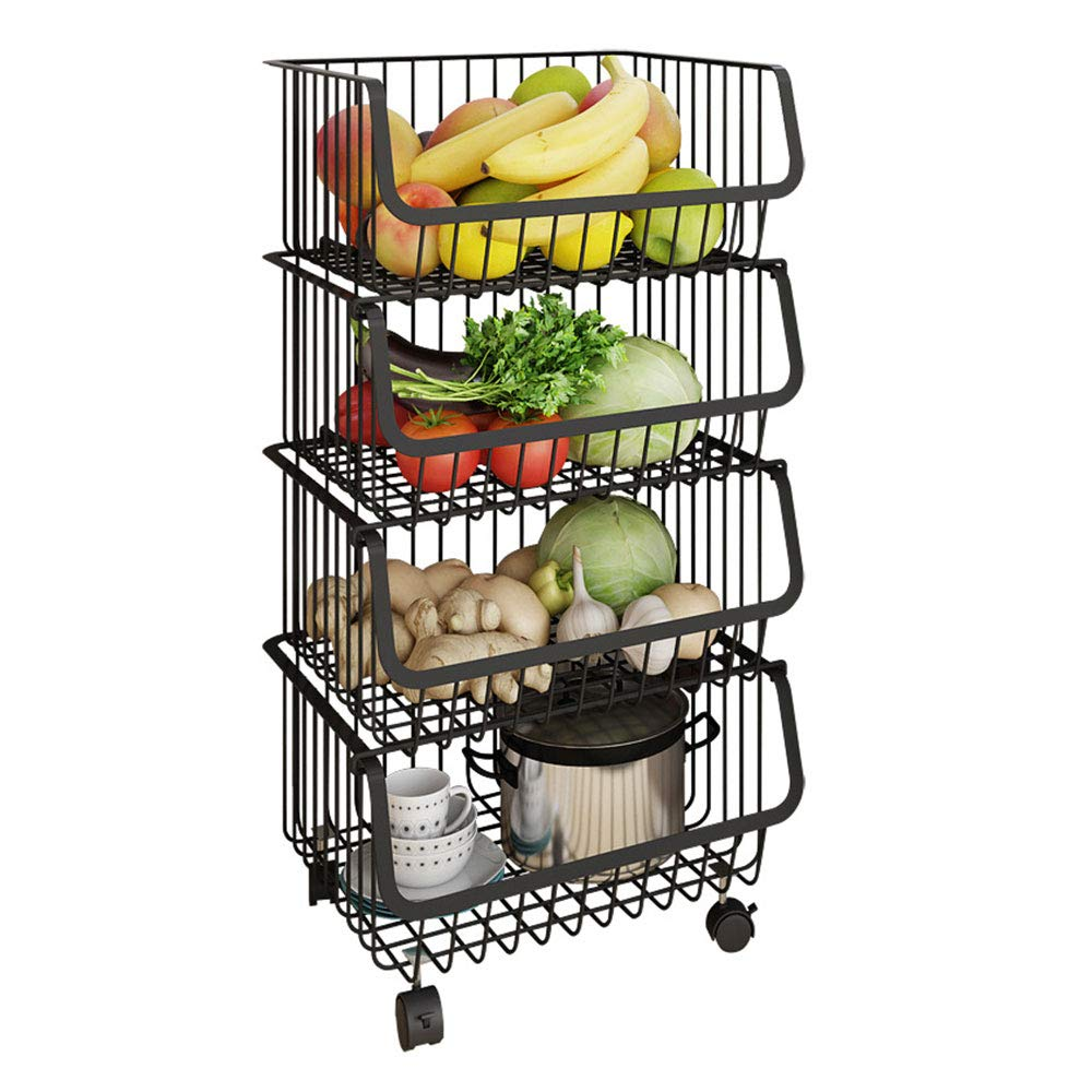 ZYZ Fruit Basket, Four Floors Modern Stackable Metal Vegetable Produce Metal Storage Bin, with Fences Sides are Protected