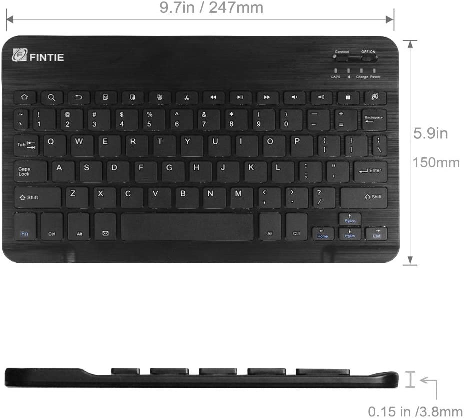 4mm ASUS Google Nexus Wireless Bluetooth Keyboard for Android Tablet Samsung Galaxy Tab E//Tab A//Tab S Lenovo and Other Android Devices Fintie 10-Inch Ultrathin