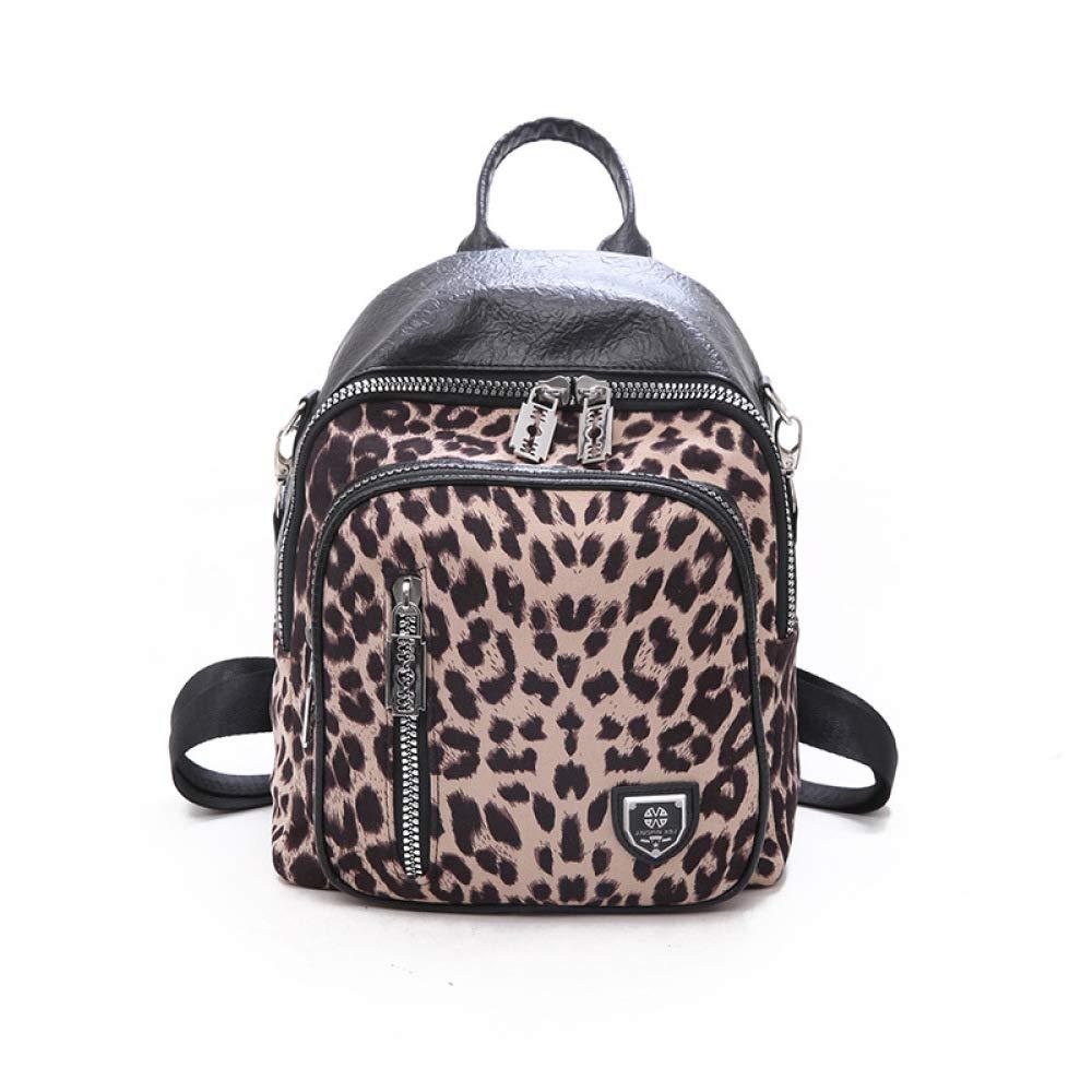 Womens Fashion Leopard Backpack Ladies Shoulder Bag College Wind Bag Casual Shoulder Bag,Khaki-OneSize
