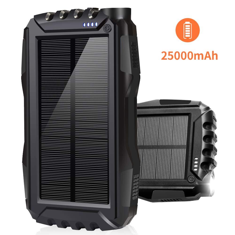 Soyond Solar Phone Charger, Solar Battery Chargers, 25000 mAh Portable Backup Battery Pack Solar Power Bank Dual USB Waterproof Led Light Charging Kits (Black_25000mAh)