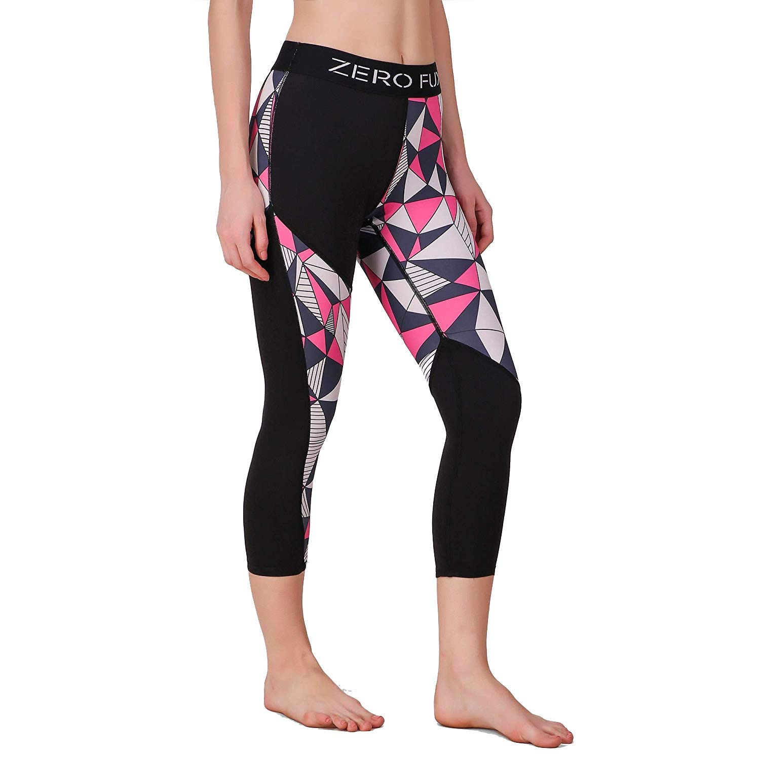 ca8a4214aed52 ZeroFux ZF Hyper-Breathe Yoga Gym Workout Sports Fitness & Active wear  Stretchable Pink Polygons Leggings Tights for Women: Amazon.in: Clothing &  ...