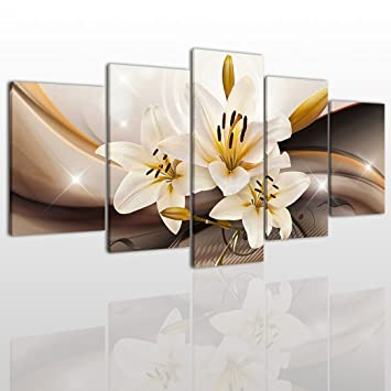 Amazon white flower canvas wall art painting modern design white flower canvas wall art painting modern design picture for home office decor 5 pieces mightylinksfo