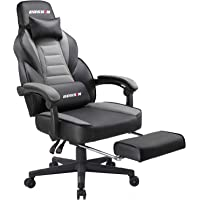 BOSSIN Racing Style Gaming Chair Office Computer Desk Chair with Footrest and Headrest, Ergonomic Design, Large Size High-Back E-Sports Chair, PU Leather Swivel Chair