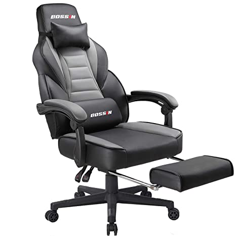 Enjoyable Bossin Gaming Chair Office Computer Desk Chair With Footrest And Headrest Racing Game Ergonomic Design Large Size High Back E Sports Chair Pu Leather Cjindustries Chair Design For Home Cjindustriesco
