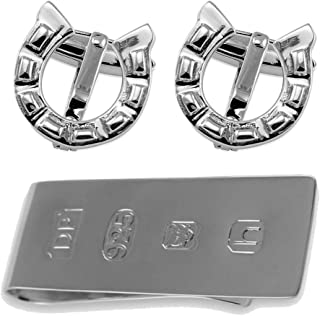 Select Gifts Boutons de manchette en argent sterling Horse Shoe Clip Argent James Bond Box Set GSDP3618-1620-925CLOTH