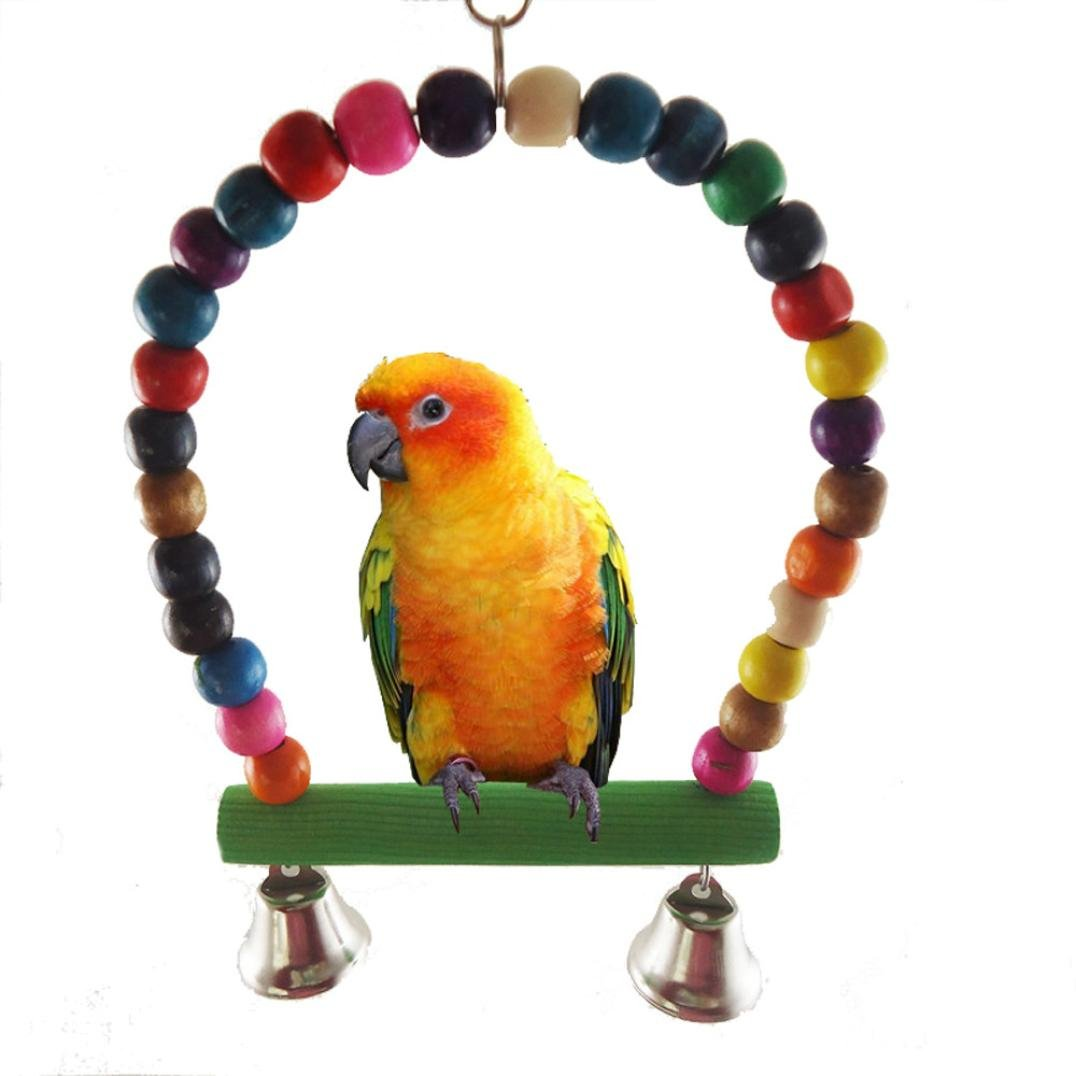 Wakeu Bird Rope Swing,Wooden Budgie Toys Pet Bird Cage Hammock Swing Hanging Toy for Small Parakeets Cockatiels, Conures, Macaws, Parrots, Love Birds, Finches (01)