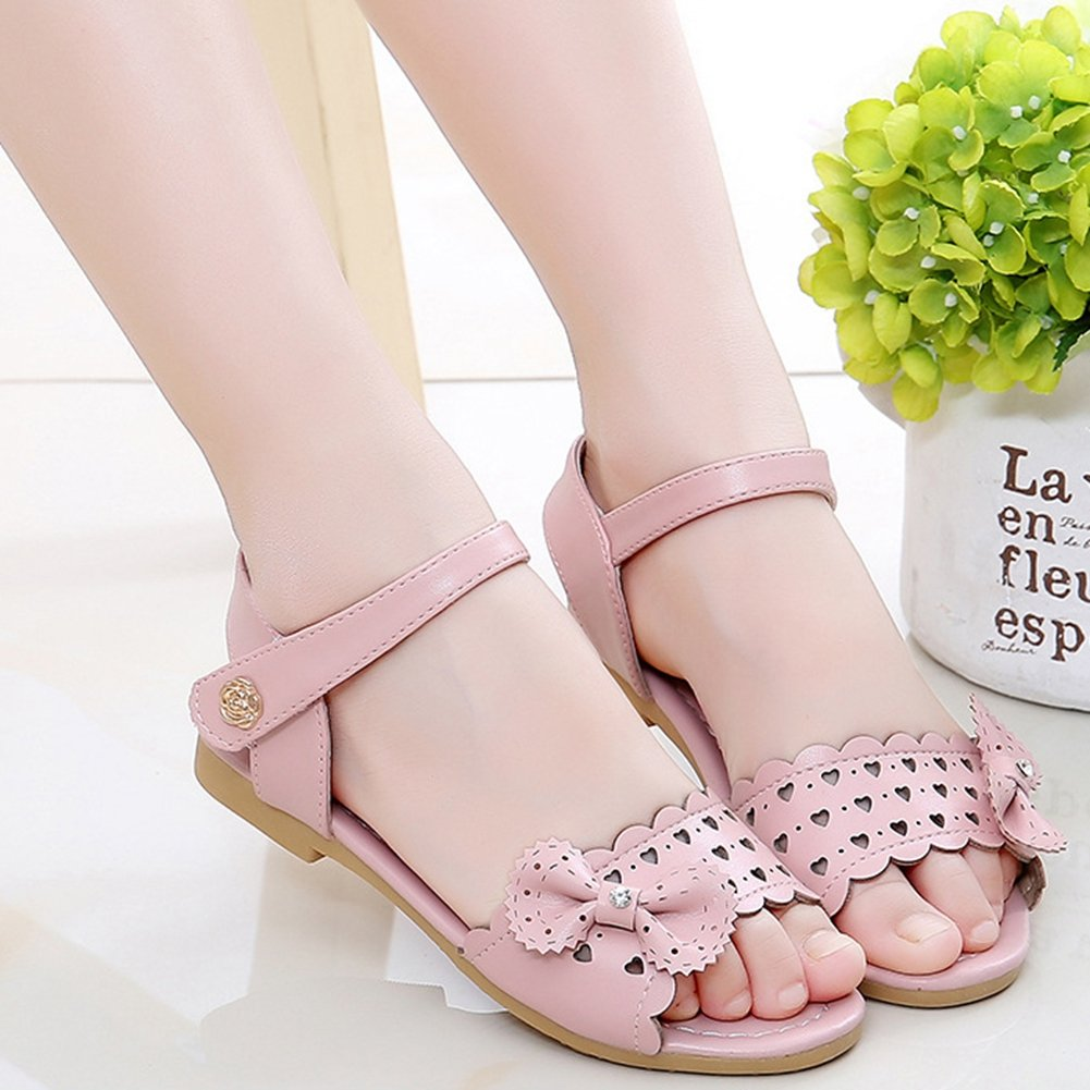 F-OXMY Girls Cute Bow Dress Sandals Summer Breathable Hollow-Out Open-Toe Sandals Toddler//Little Kid