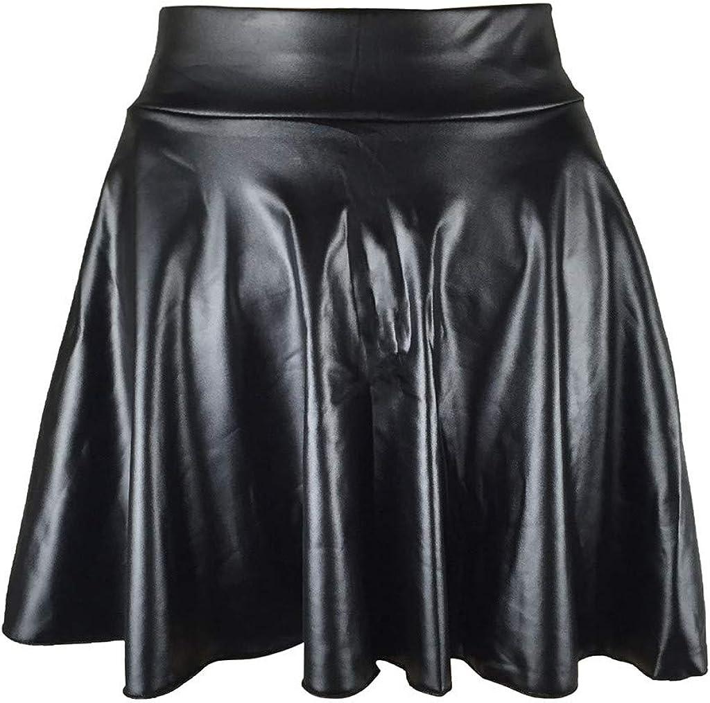 YGbuy-Falda de mujer Niña Mini Falda Una Línea Mini Falda Skater Vestidos para Mujer Mini Vestido Vestido Skater Cintura Alta Falda de Cuero Sintético Falda Solar Falda Plisada Falda de Cuero