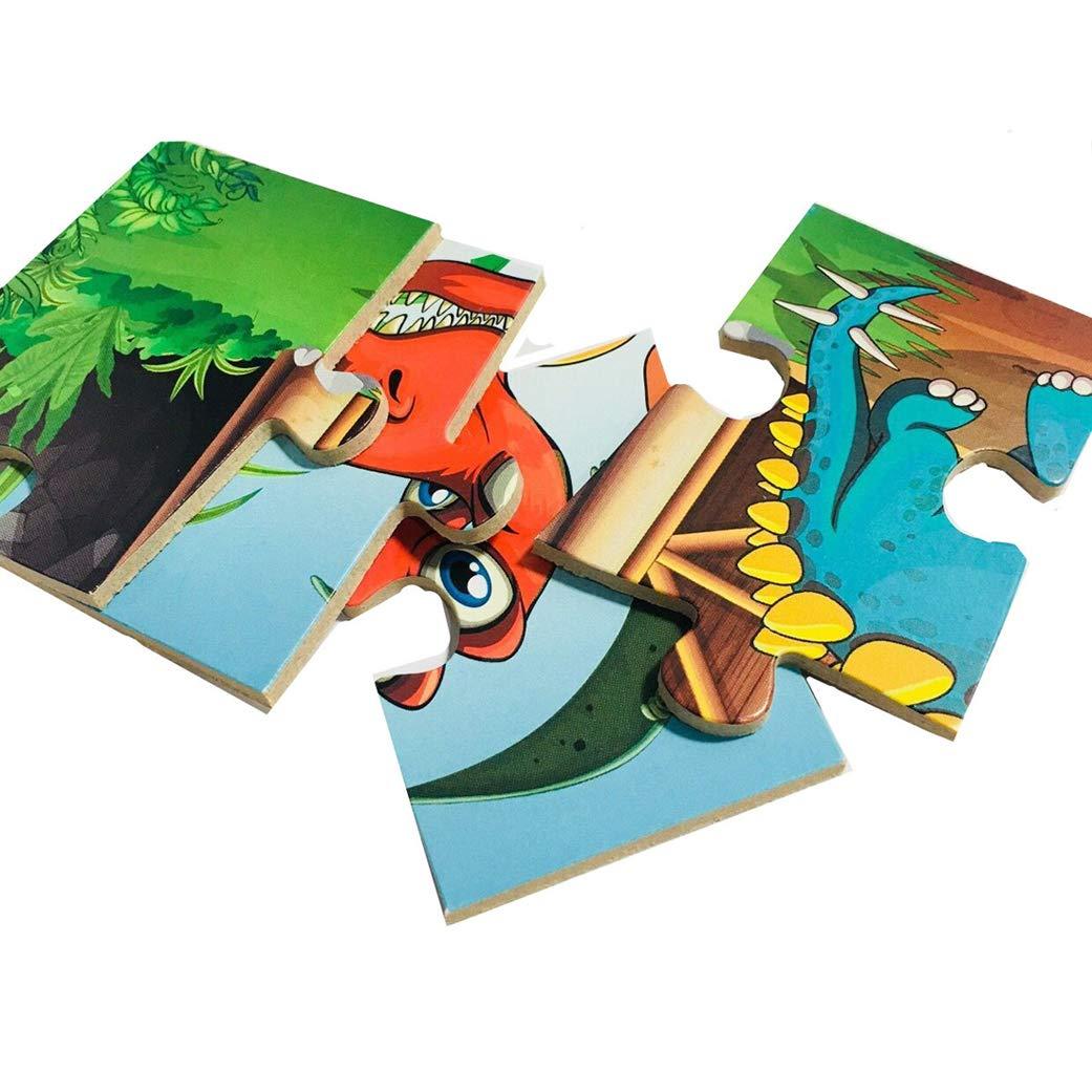 48 Piezas Yeelan Rompecabezas de Dinosaurio Rompecabezas de Dibujos Animados Imagen Juguete Tablero de Madera Im/ágenes para Ni/ños Ni/ño peque/ño Educaci/ón temprana Desarrollo Intelectual
