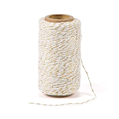 328 Feet Cotton Bakers Twine String, Gold Twine String, Gift Wrapping Holiday Twine Wedding Mothers Day Gift Twine Cotton Cord Rope Gold Metallic : Office Products
