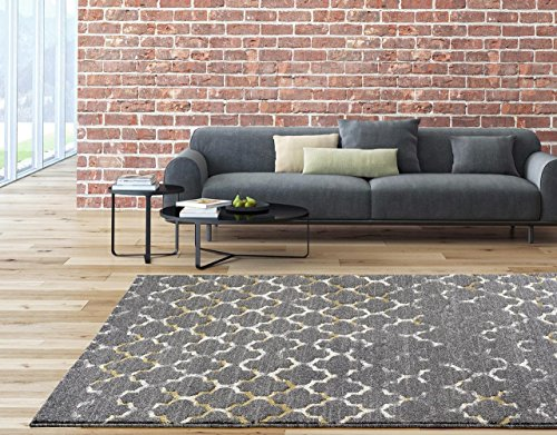 6039 Gray moroccan trellis 5'2×7'2 Area Rug Carpet Large New