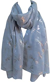World of Shawls Glitter Dragonfly Large Scarf For Ladies Womens Shawl Scarf Wrap Soft Scarves Clothing