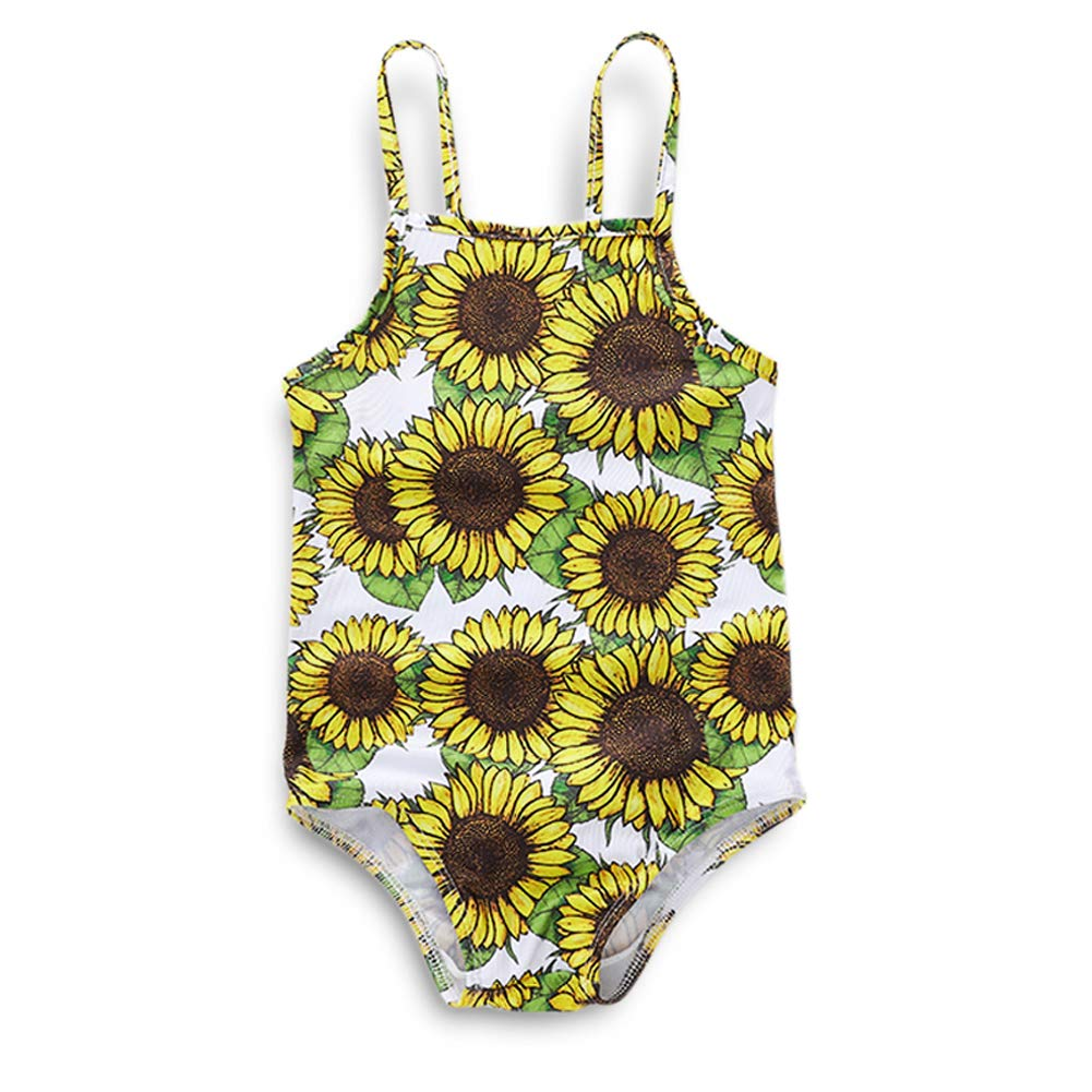 627ff4ed61 Amazon.com: YOUNGER TREE Baby Girl's Tropic One Piece Swimsuit Swimwear Bathing  Suit Rash Guard Sunflower: Clothing
