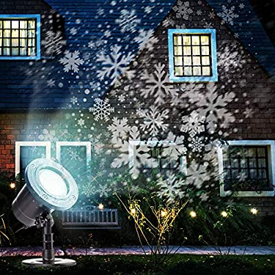 Christmas Projector Lights Outdoor Rotating Snowflake LED Christmas Lights, Waterproof Projector Decorating Stage Light Outdoor Snowfall Holiday Party Garden Landscape Lamp