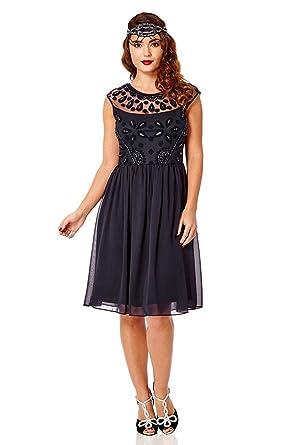 gatsbylady london Dorothy Vintage Inspired Prom Dress in Navy (US0 EU32)