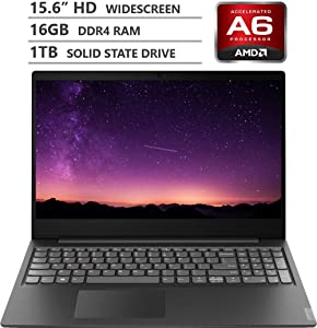 "2019 Newest Lenovo Ideapad S145 15.6"" HD TN Widescreen Laptop, AMD A6-9225 Dual-Core Processor up to 3.00GHz, 16GB RAM, 1TB Solid State Drive, HDMI, Wireless-AC, Bluetooth, Windows 10, Granite Black"