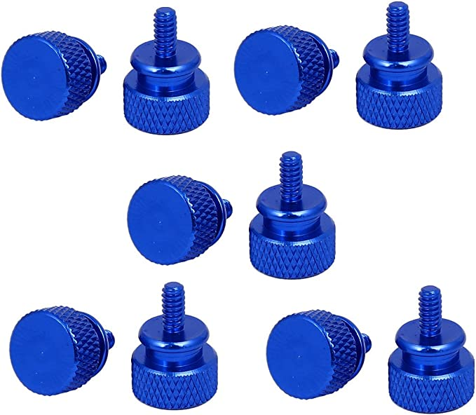 uxcell Computer PC Case 6#-32 Fully Threaded Knurled Thumb Screws Royal Blue 10pcs a16100700ux0202