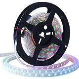 CHINLY 5m WS2812B Lumière de bande LED adressable individuellement 5050 RGB SMD 300 Pixels Couleur de rêve Imperméable IP67 Blanc PCB 5V DC