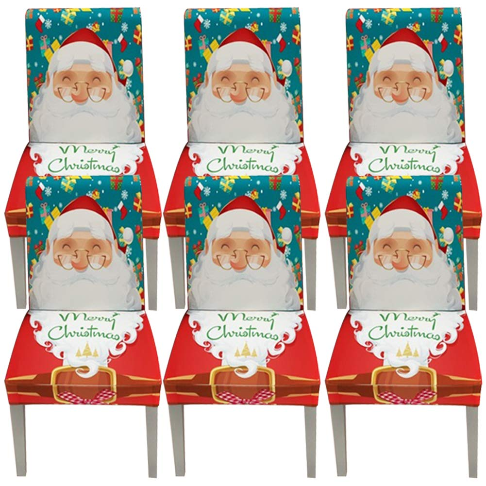 YISUN Stretch Dining Chair Covers Spandex Removable Washable Chair Protector Cover, Santa Claus Pattern Chair Slipcover for Kitchen Dining Room Chairs and Living Room - 6 Pack