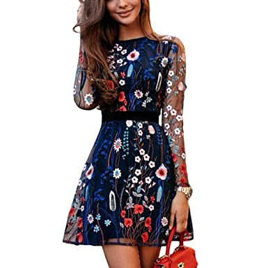 Mingning Women Floral Embroidery Dress Summer Boho Mini A-line Dress See-Through Dress