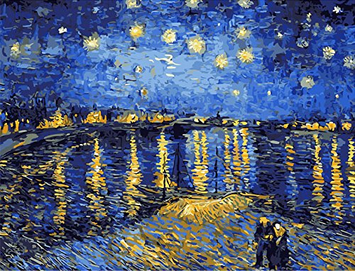 Framed Rhone Art (Faraway Starry sky of the rhone river Van gogh Oil Painting By Numbers Paint DIY Digital Coloring Wall Arts Pictures Room (Framed Canvas))