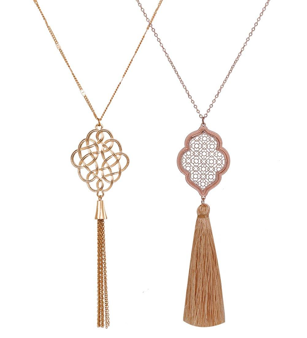 ALEXY 2Pcs Long Chain Pendant Necklace Set, Filigree Quatrefoil and Celtic Knot Pendant Tassel Y Necklaces for Women (A Gold + Rose Gold)