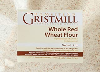 product image for Homestead Gristmill — Non-GMO, Chemical-Free, All-Natural, Stone-ground Whole Red Wheat Flour (5 lb), Artisanally Milled from Hard Red Wheat Berries