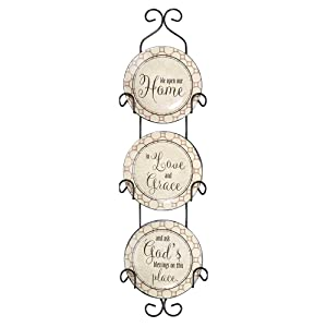 We Open Our Home Ceramic Mini Wall Plates With Metal Display Rack, Set of 3