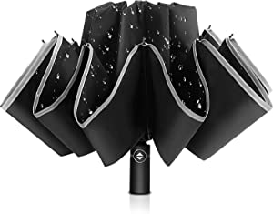 Bodyguard Inverted Umbrella, Windproof Umbrella,12 Ribs Reverse Umbrella with Reflective Stripe, Teflon Umbrella in Rain and Sun, Leather Cover for Women and Men