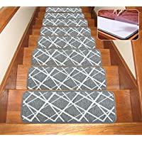 Seloom Dog Assist Gray Stair Treads Carpet Non-Slip Washable with Skid Resistant Rubber Backing Specialized for Indoor Wooden Steps (Set of 13), 25.5