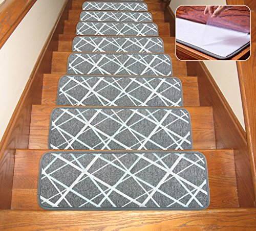 """Soloom Non-Slip Washable Stair Treads Carpet with Skid Resistant Rubber Backing Specialized for Indoor Wooden Steps (Set of 13) , 26""""×10"""", Grey"""