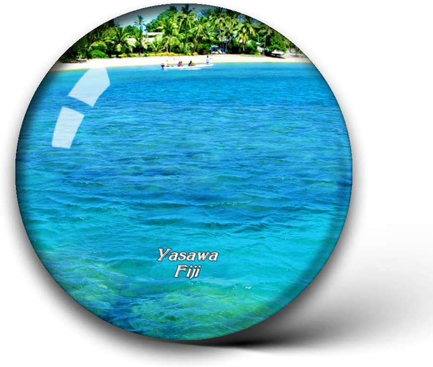 Yasawa Island Fiji Fridge Magnets Clear Crystal Glass for Refrigerator City Travel Souvenirs Funny Whiteboard Home Decorative Sticker Collection Gifts Round Magnet