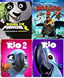Dreamworks Animation How to Train your Dragon 2 & Kung Fu Panda 2 Sequel Set + Rio Part 1 & 2 Blu Ray Cartoon Fun Movie Bundle Set