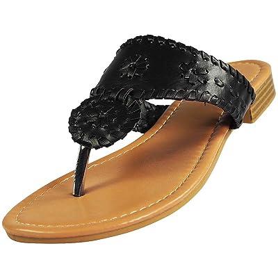 Pierre Dumas Womens Rosetta 1 Sandals, Black, 6.5 | Flip-Flops