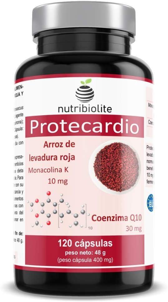 Protecardio – Levadura de arroz rojo con Monacolina K (10 mg) y Coenzima Q10 (30 mg), ayuda a regular los niveles de colesterol y a una mejor salud del corazón