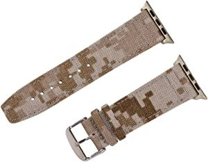 Clockwork Synergy - Cordura Collection Leather Watch Bands Compatible with Apple Watch (42mm Desert CAMO, SS)