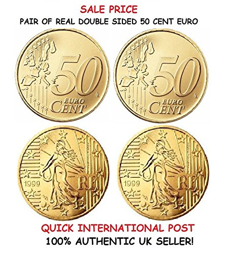 Paar Echte Zweiseitig 50 Cent Euro Münzen Einem Doppelköpfigen