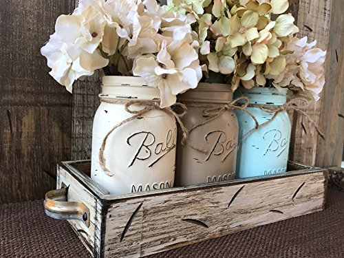 Mason Canning Jars In Wood Antique White Tray Centerpiece