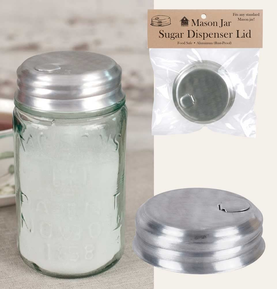 "SIMPLY HOMEADE Mason Jar Sugar/Salt/Spice Dispenser Lid Kitchen Supplies, 2 3/4"" diameter 1 1/4"" tall, Silver"