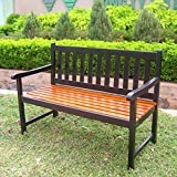 International Caravan VF-4110-Blk/OK-IC Furniture Piece Outdoor 4 Foot Wood Bench
