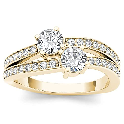 1/4 Carat TDW Round Cut Diamond 14k Yellow Gold Two-Stone Split-Shank Engagement Ring (H-I, I2)